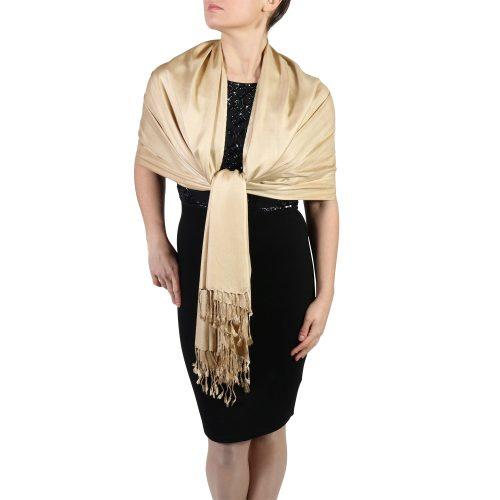 gold pashmina wrap shawl stole (1)