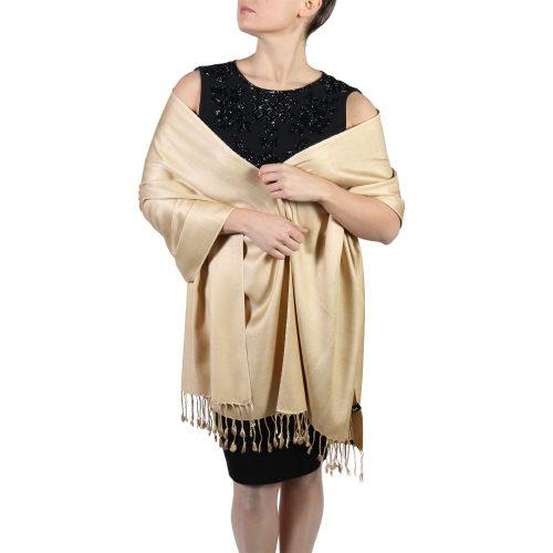 gold pashmina wrap shawl stole (3)