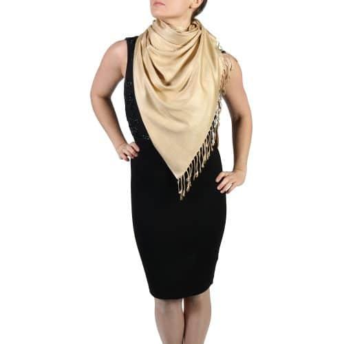 gold pashmina wrap shawl stole (4)