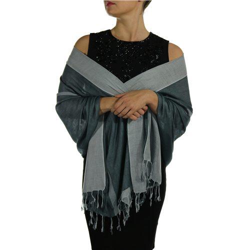 silver gray pashmina wrap shawl stole (5)