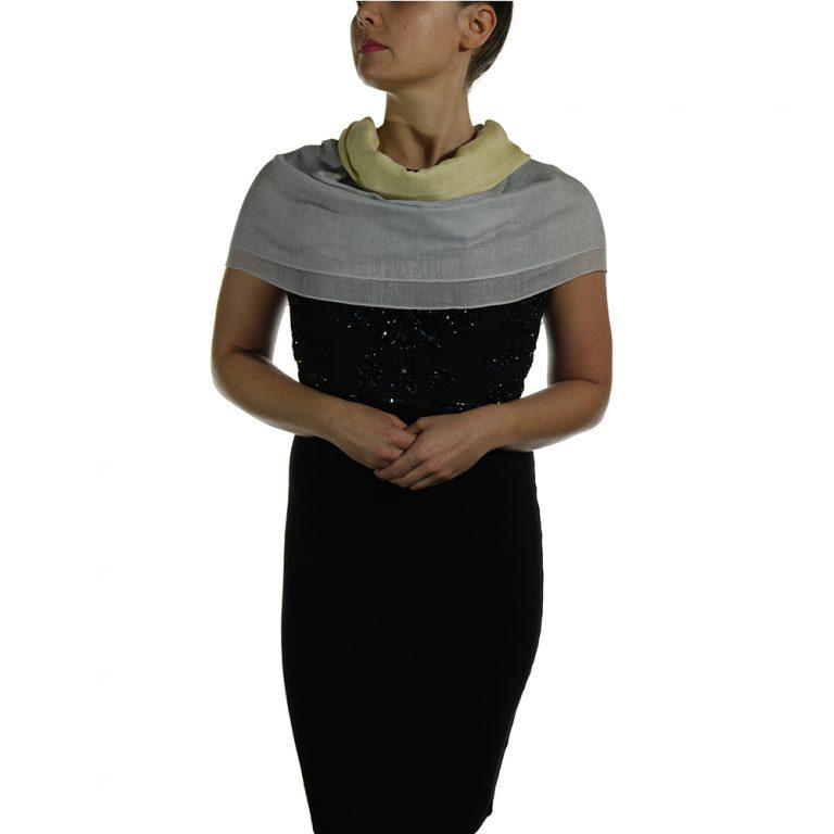 silver yellow pashmina shawl wrap scarve (3)