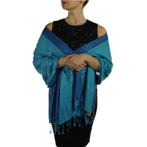 turquoise blue pashmina wrap shawl scarf (5)