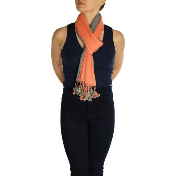 gray orange pashmina scarve (2)