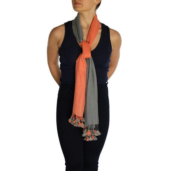 gray orange pashmina scarve (3)