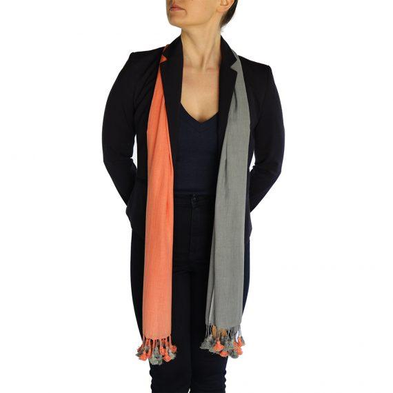 gray orange pashmina scarve (4)