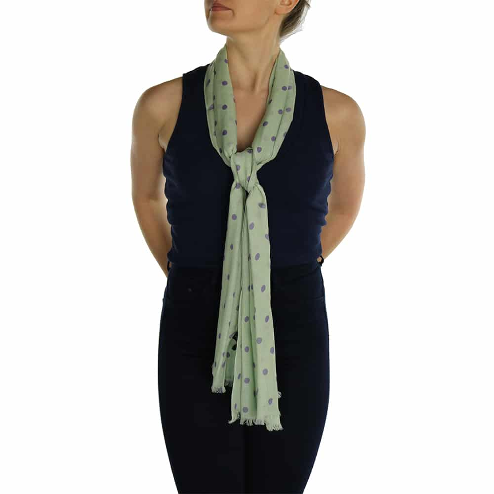 polka dot ladies scaf sage (1)