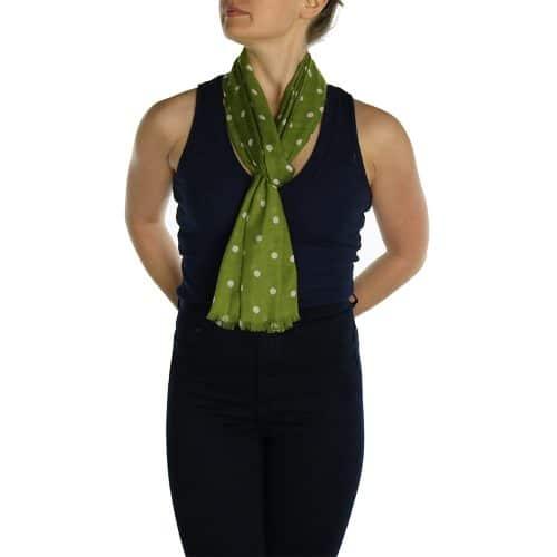 polka dot pashmina green (2)