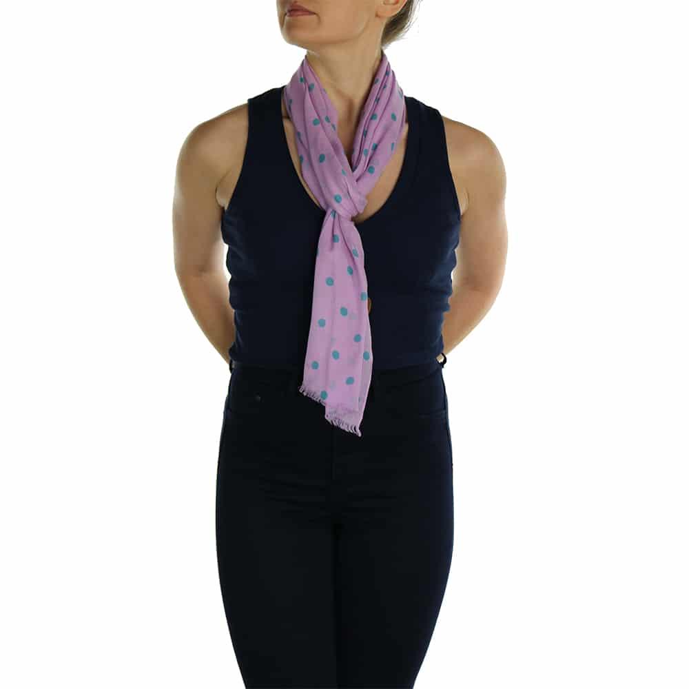 polka dot pashmina lavender pink (2)