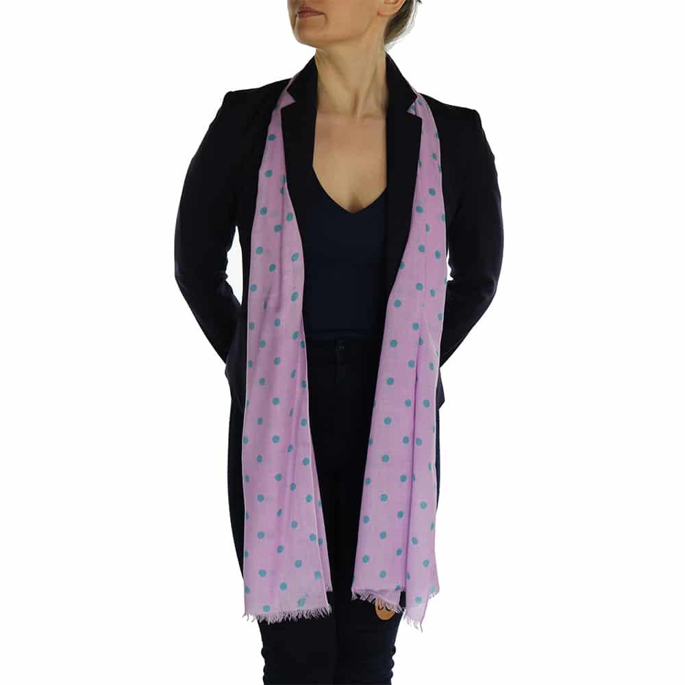 polka dot pashmina lavender pink (4)