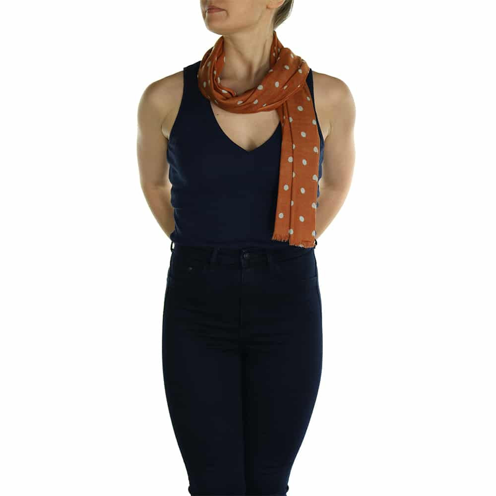 polka dot pashmina orange (3)