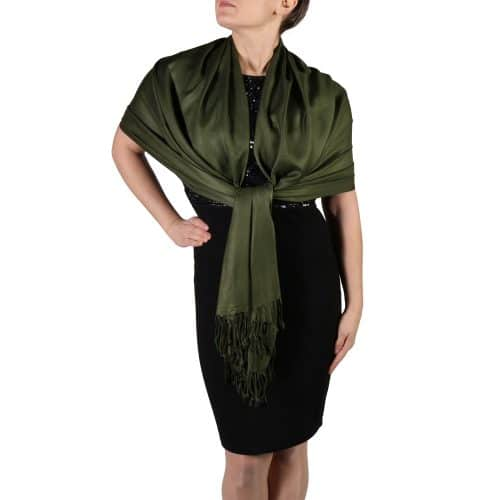 dark green pashmina shawl wrap stole (1)