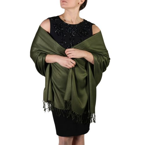 dark green pashmina shawl wrap stole (3)