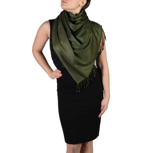 dark green pashmina shawl wrap stole (4)