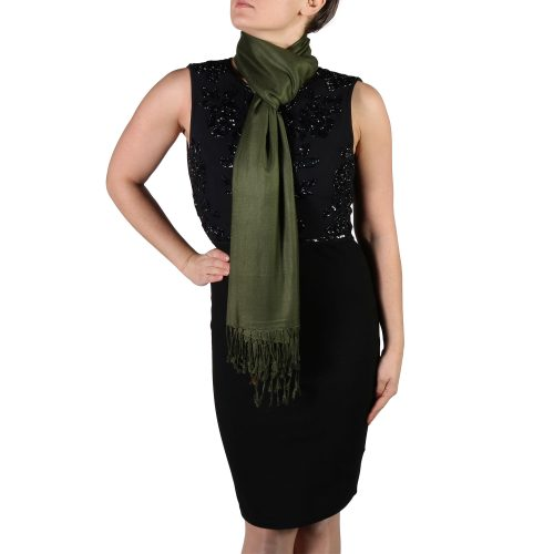 dark green pashmina shawl wrap stole (5)