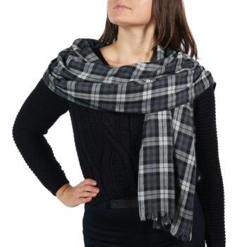 grey tartan sacrf shawl wrap (4)