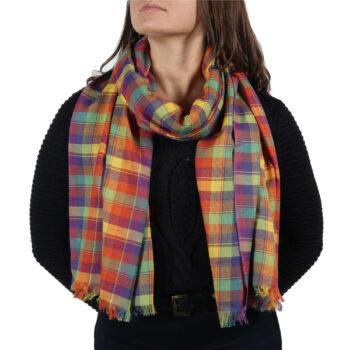 rainbow tartan pashmina scarf wrap (3)